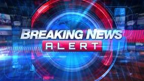 Breaking newsvarning - grafisk titel för TV-sändningTVanimering stock video