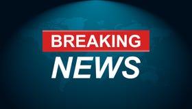 Breaking newsvektorsymbol Nyheterna med illus för världskartalägenhetvektor Arkivbild