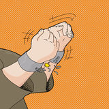 Breaking Out of Handcuffs. Cartoon of captive hands breaking out of handcuffs Royalty Free Stock Image