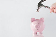 Breaking into Piggy Bank Royalty Free Stock Images