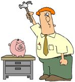 Breaking The Piggy Bank royalty free illustration