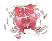 Breaking Piggy Bank Royalty Free Stock Photos