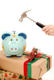 Breaking piggy bank with hummer isolated Royalty Free Stock Photos
