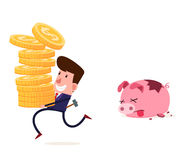 Breaking the piggy bank Stock Images