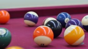 Breaking pool balls 4k stock video