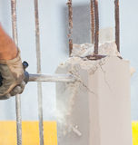 Breaking reinforced concrete with jackhammer Royalty Free Stock Photography