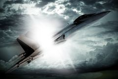 Breaking Sound. Barrier. Supersonic Fighter Jet  Barrier. Profile of the Jet Fighter. MACH 1 Moment. 3D Render Illustration. Military Illustrations Collection Royalty Free Stock Images