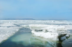 Breaking spring floating ice Royalty Free Stock Photography