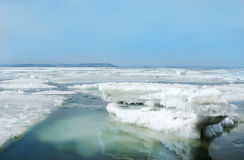 Breaking spring floating ice at japanese sea Royalty Free Stock Image