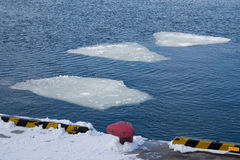 Breaking spring ice floe Stock Photos