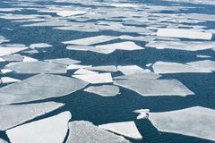 Breaking spring ice floe at the sea Stock Photos