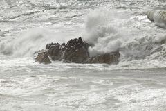 Breaking stormy waves royalty free stock photography