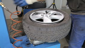 Breaking The Tire Off From The Rim. Repairing Car stock video