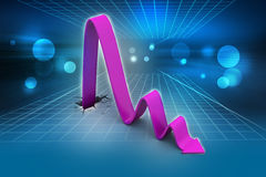 Breaking through to loss as a financial graph. In color background Stock Image