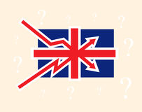 Breaking up and down trends as British flag Great Britain political economical crisis symbol. With question mark on background. Vector concept illustration Stock Photography