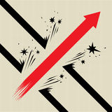 Breaking Through. Vector illustration of a red arrow breaking through obstacles stock illustration