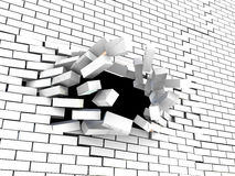 Breaking wall. Abstract 3d illustration of brick wall breaking Stock Photo