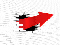 Breaking wall. Abstract 3d illustration of arrow breaking white brick wall Stock Photography