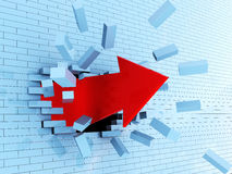 Breaking wall. Abstractr 3d illustration of red arrow breaking blue bricks wall Royalty Free Stock Photography