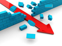 Breaking wall. 3d illustration of red arrow breaking blue bricks wall Royalty Free Stock Image