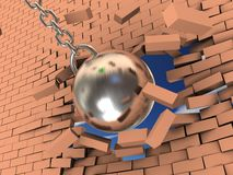 Breaking wall. 3d illustration of steel ball on chain breaking wall Royalty Free Stock Photography