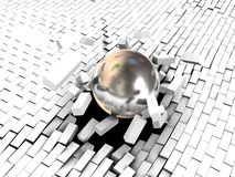 Breaking wall. 3d illustration of steel ball breaking white brick wall Stock Photography