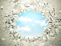 Breaking wall. And blue sky with clouds royalty free illustration