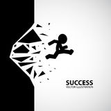 Breaking the wall. Business concept illustration. A man run through the wall and wall is breaking vector illustration