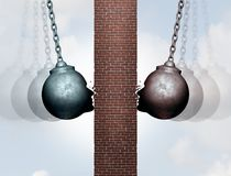 Breaking Wall Of Communication. And break down the dividing barrier between business people or clients as wrecking balls destroying an obstacle with 3D Royalty Free Stock Image
