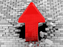 Breaking wall. 3d illustration of red arrow breaking brick wall Stock Photos