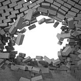 Breaking wall. 3d image of breaking concrete wall Royalty Free Stock Photography