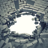 Breaking wall. 3d image of breaking concrete wall Stock Photos