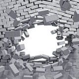 Breaking wall. 3d image concrete breaking wall Stock Photos