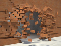 Breaking wall. 3d image og breaking brick wall Royalty Free Stock Images