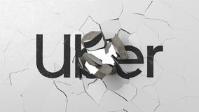 Breaking wall with painted logo of Uber. Crisis related editorial 3D rendering vector illustration