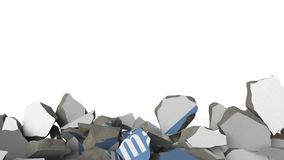 Breaking wall with painted logo of Goldman Sachs. Crisis conceptual editorial 3D animation