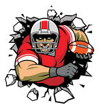 Breaking the wall. Vector of football player breaking the wall, all element is separated stock illustration