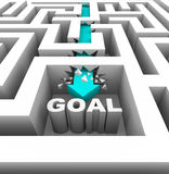 Breaking Through Walls to Reach a Goal. A arrow breaks through walls in a maze to reach a goal stock illustration