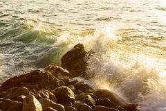 Breaking wave with foam on rocky shore, splashing on rocks. At sunrise royalty free stock photo