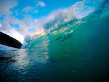 Breaking Wave Hawaii. A glassy wave with the sunset in the background stock photo