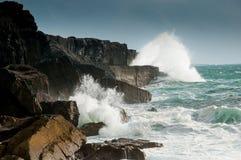 Breaking waves. Along the coast, Co. Clare, Ireland Royalty Free Stock Photos