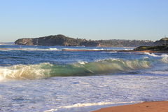 Mona Vale beach bay rolling waves Royalty Free Stock Image