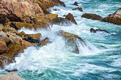 Breaking waves on the rocky coast of the Black Sea at Tyulenovo, Bulgaria Stock Photography