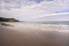 Breaking waves on sandy beach seascape Stock Images