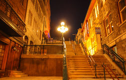 Breakneck stairs connecting Quartier Petit-Champlain of lower town to Upper town in Old Quebec city Stock Photography