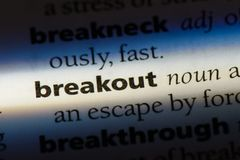 Breakout. Word in a dictionary.  concept royalty free stock image