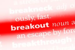 Breakout. Word in a dictionary.  concept royalty free stock photo