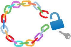 Breakout unlock broken circle chain escape. Key to a breakout unlocks a broken circle chain to escape stock illustration