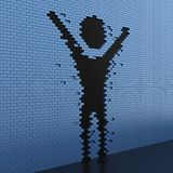 Breakthrough. 3D illustration human shaped hole in the blue brick wall Stock Photography