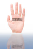 Breakthrough. The word breakthrough written on a hand emerging from water. Symbolising such themes and scientific, technological and medical advancements stock image